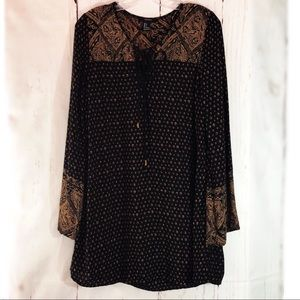 FOREVER 21 | Black & Brown Boho Tunic Dress Small
